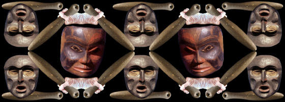 Abstract image of northwest coast club and masks.