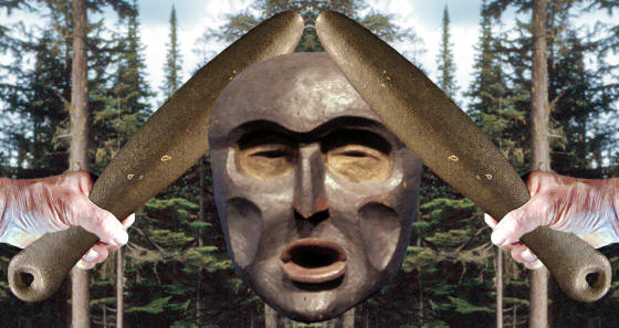 Abstract image of northwest coast stone club and mask.