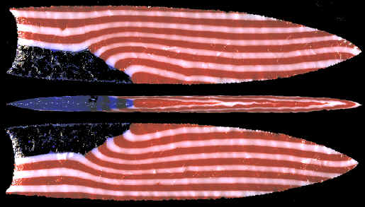 Three views of an American flag glass spear point.