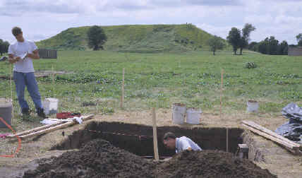 Archaeologists excavating mound 34 at Cahokia.