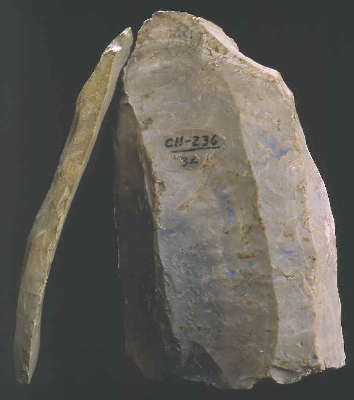 Clovis core and blade from Christian County, Kentucky.