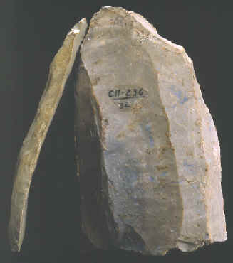 Clovis core and blade from Kentucky.