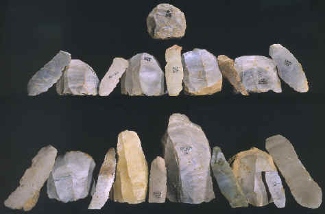 Clovis cores and blades and one hammerstone.