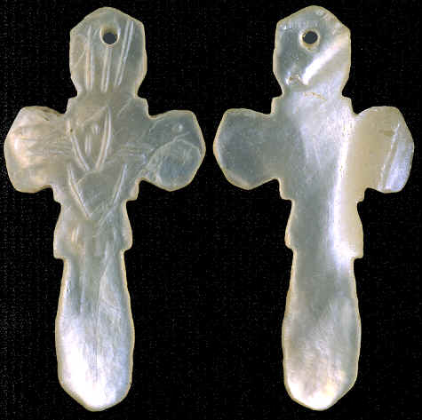 Shell crucifix from San Pedro, California, about A.D. 1800.