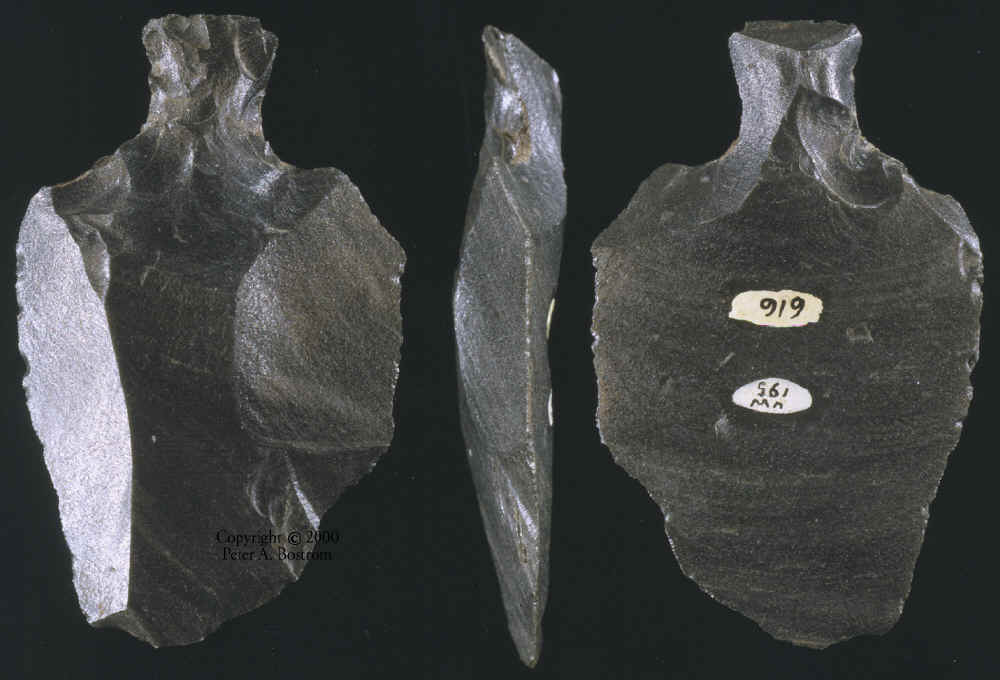 Three views of an Obsidian Mataa Spear Point from Easter Island.