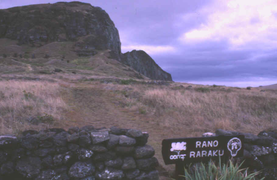 Pathway leading to Easter Island's statue quarry on Rano Raraku.
