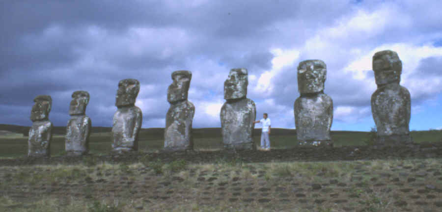 Row of Eeaster Island statues on their platform.