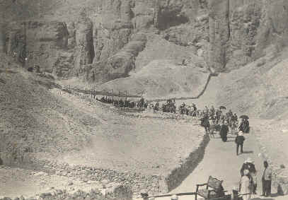 Picture taken in 1903 of tourists in the Valley of the Kings, Egypt.