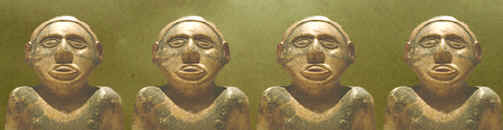 Repeated images of the male figure from Etowah Mounds.
