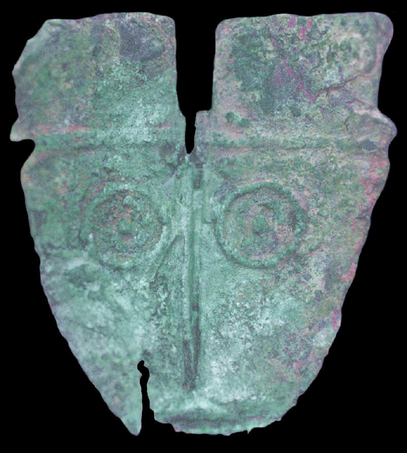 Copper long-nosed god mask from Illinois.