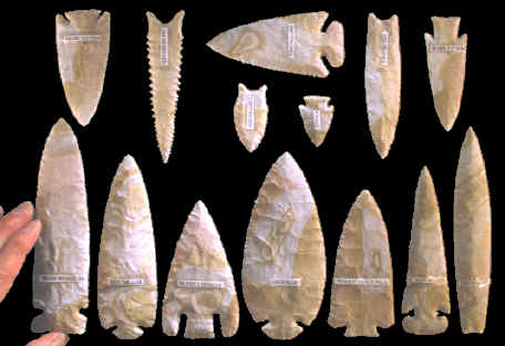 14 modern knapped points by nine different knappers.