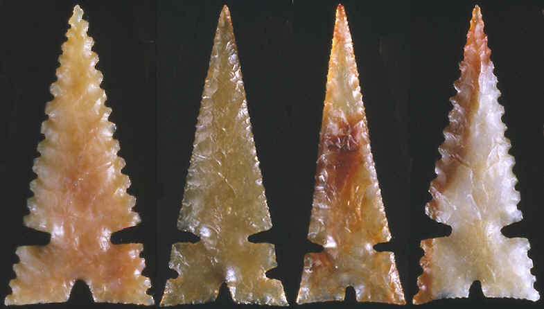 Four Cahokia points made by Gary Merlie.