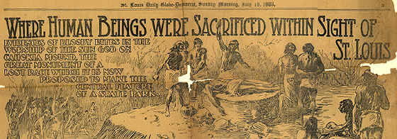 1909 St. Louis newspaper showing Indians sacrificing someone.