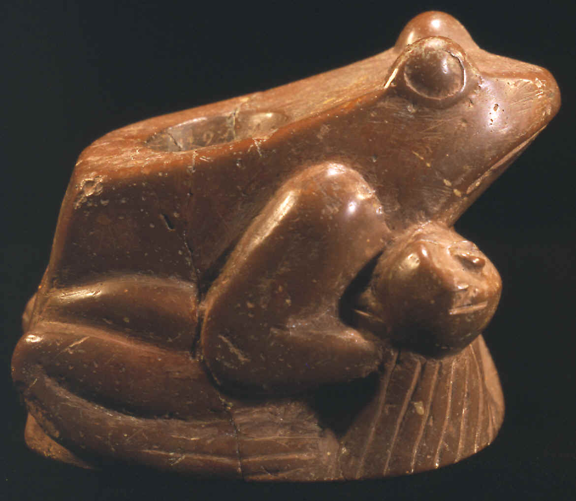 "The ""Rattler Frog Effigy Pipe"" showing side with rattle."