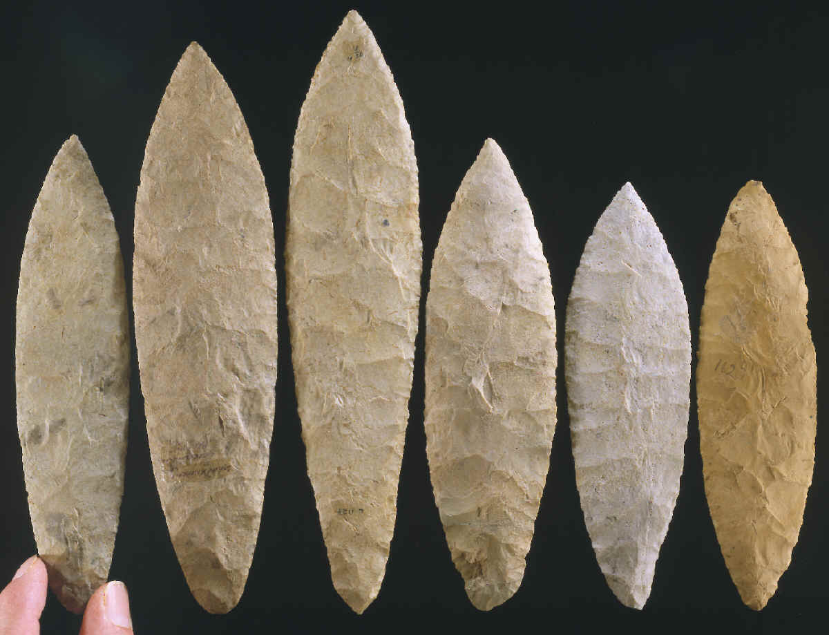 Row of 6 Ramey knives made of Mill Creek chert.