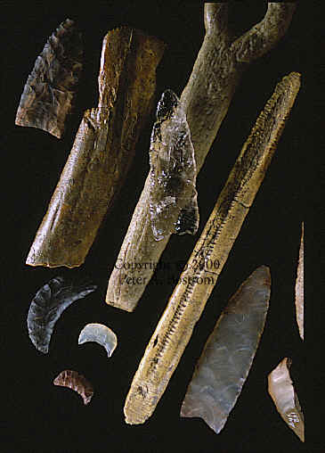 Clovis artifacts from several different sites.